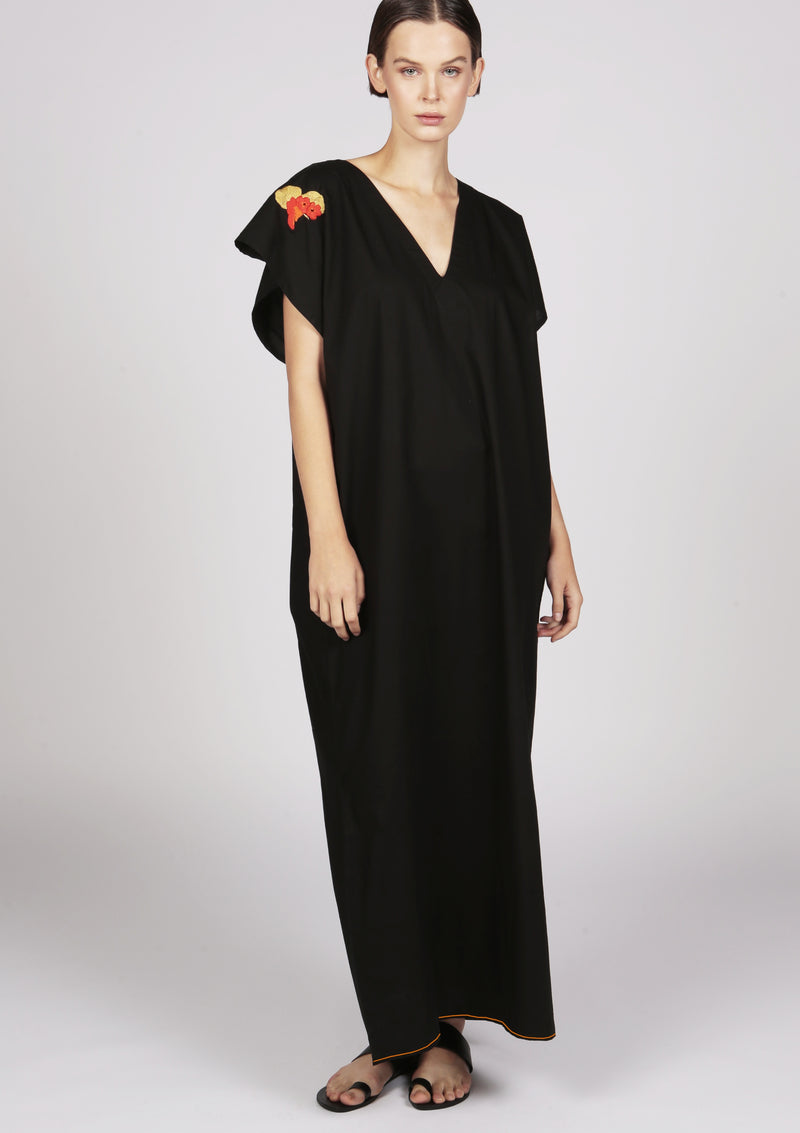 black embroidered cotton maxi kaftan dress