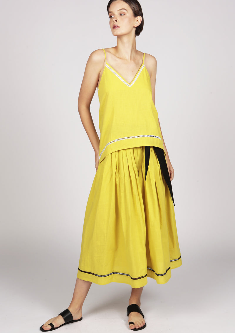 yellow cami top with embroidery
