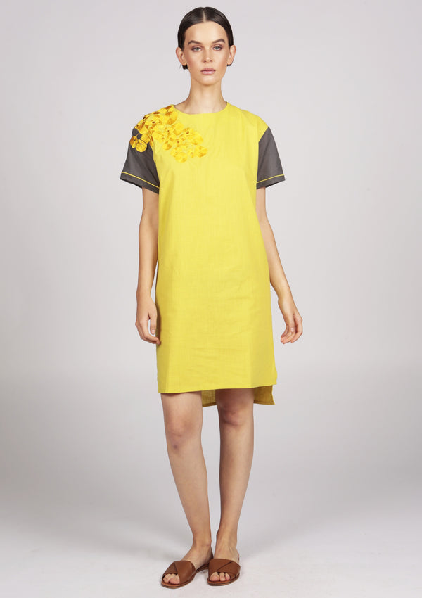 Maraina-London YELLOW EMBROIDERED DRESS CASUAL CHIC