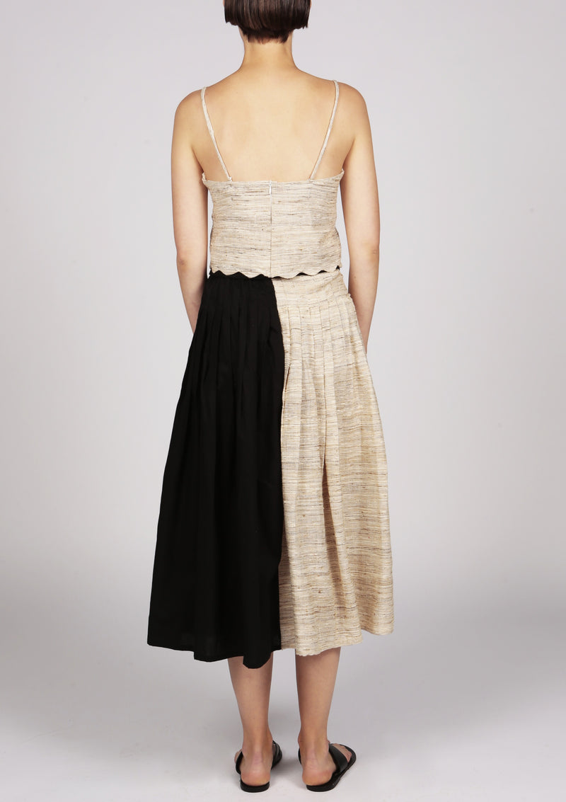 black and brown silk pleated skirt