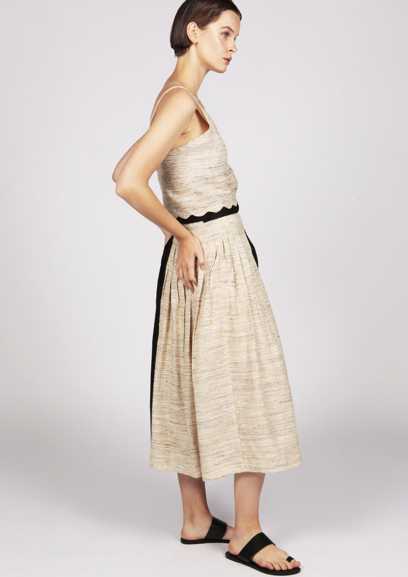 cotton and silk midi pleated plissee skirt