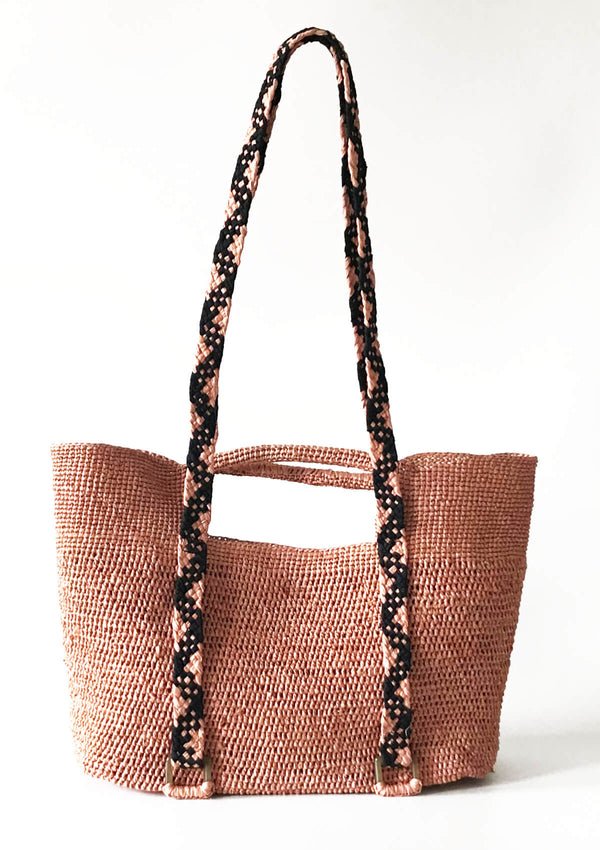affordable designer beach bag raffia pink