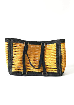 AGNES large beach bag- Yellow and Black