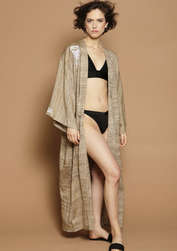 Silk wrap kimono robe for beachwear loungewear