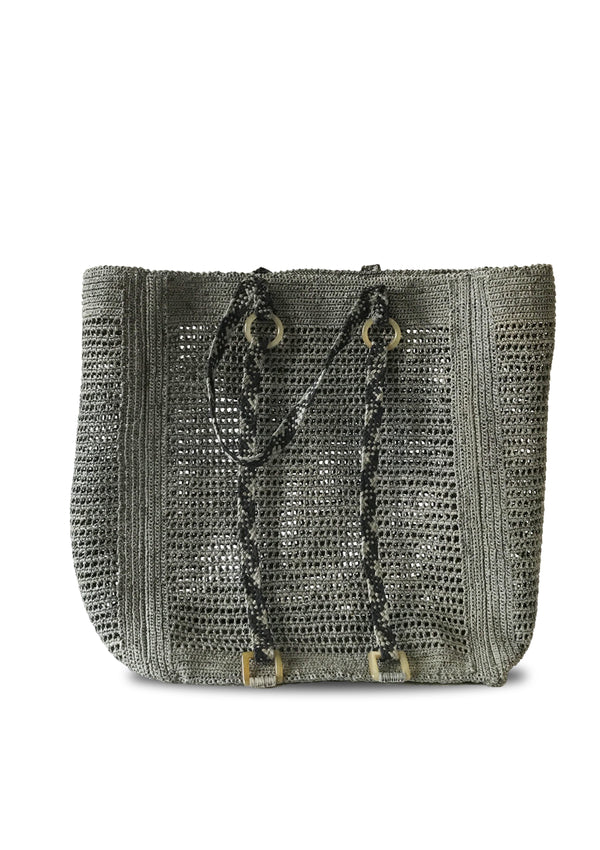 Paulette raffia tote Bag in grey