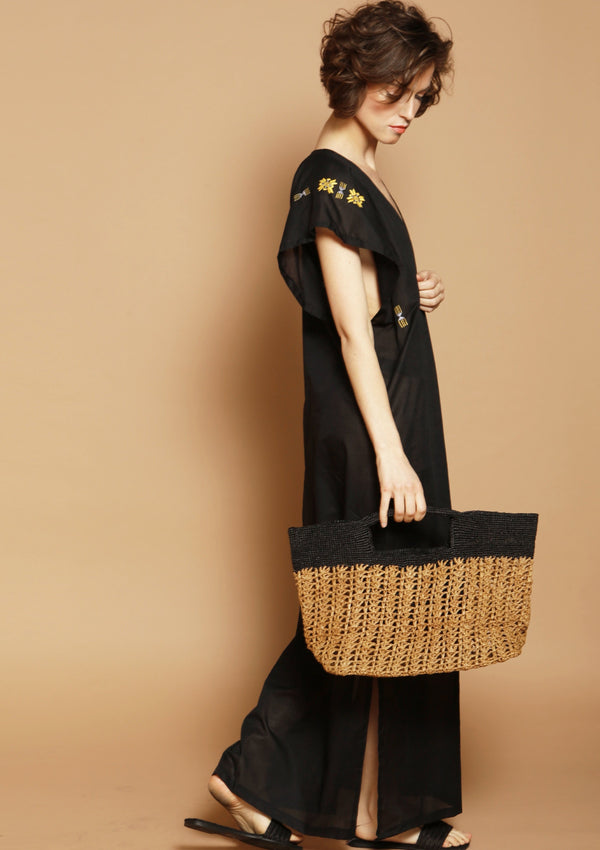 Sustainable designer raffia beachwear bag