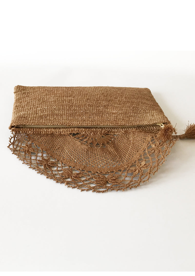 ALISON Lace Clutch in Brown