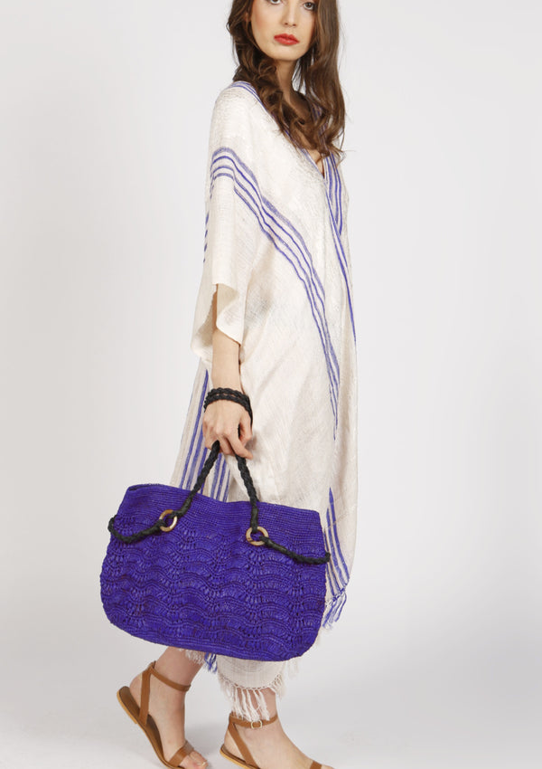 BLUEBERRY raffia shoulder bag- Blue