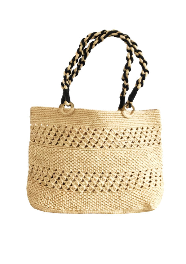 Raffia beach boat bag for luxury holiday