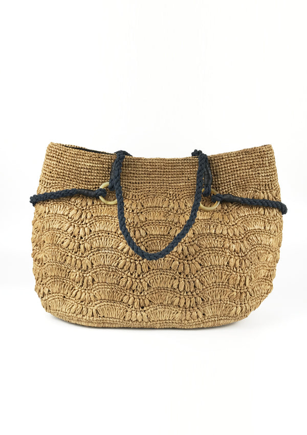 BLUEBERRY raffia shoulder bag- Brown
