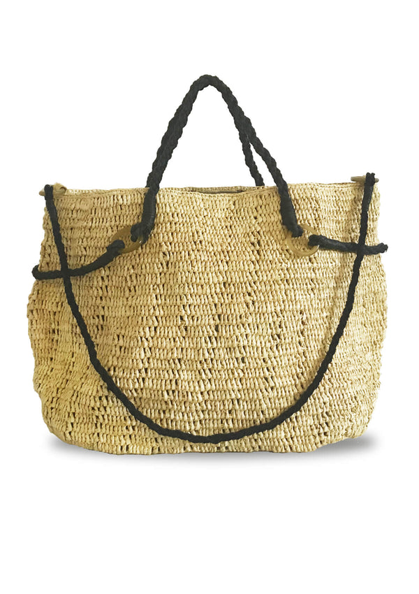 Designer raffia large beach bag with storage