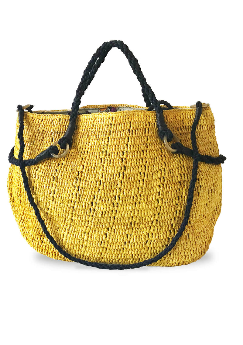 Marianne raffia beach bag (large)- Yellow