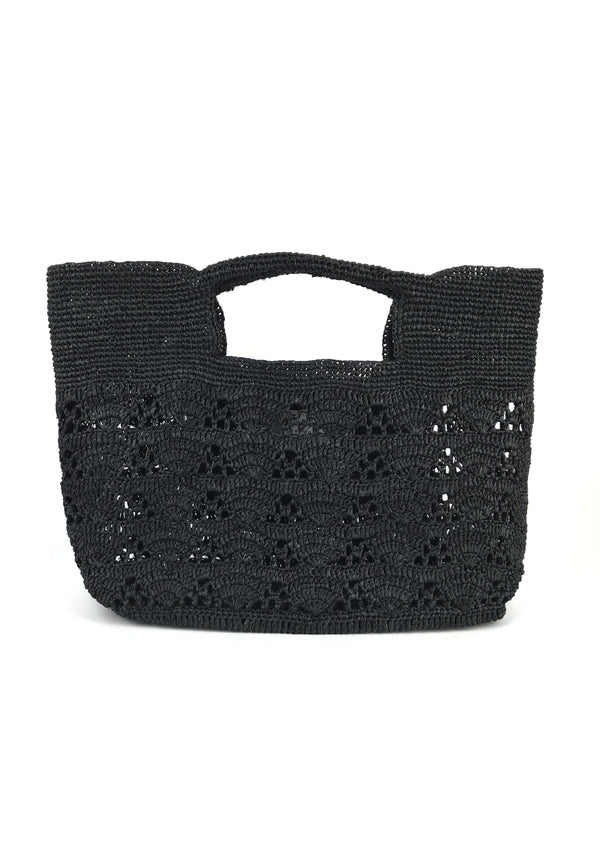 LUCIA raffia tote bag- Black