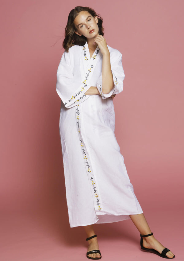embroidered kimono beachwear cover-up
