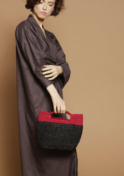 designer black raffia tote bag for sale