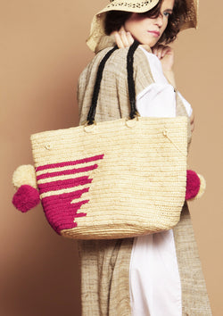 high end large raffia basket bag beach bag