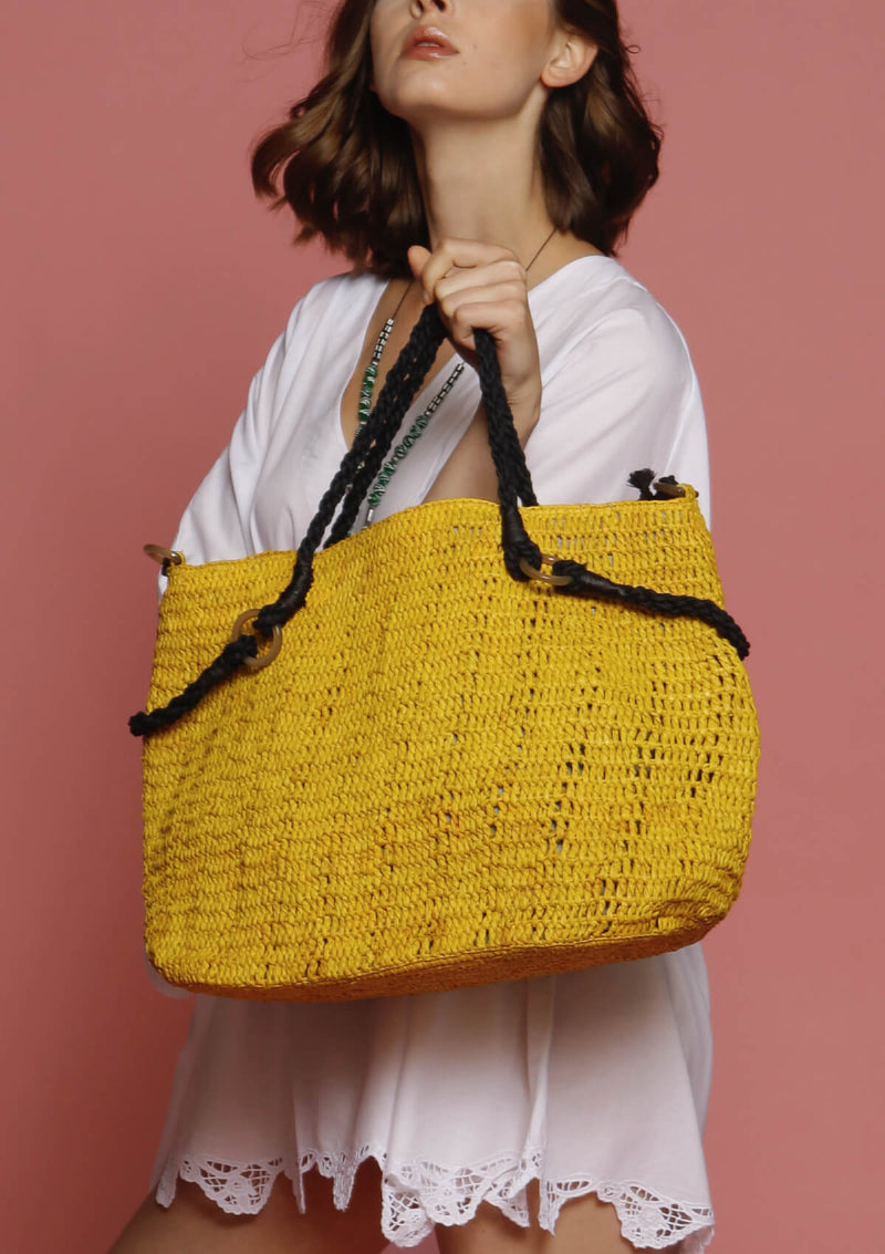 Large raffia beach bag sunny holiday
