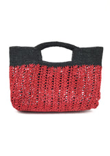 designer raffia beach see-through bag