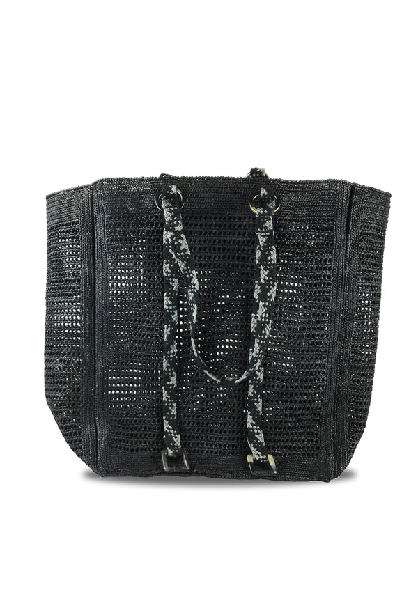 Paulette raffia tote Bag in black