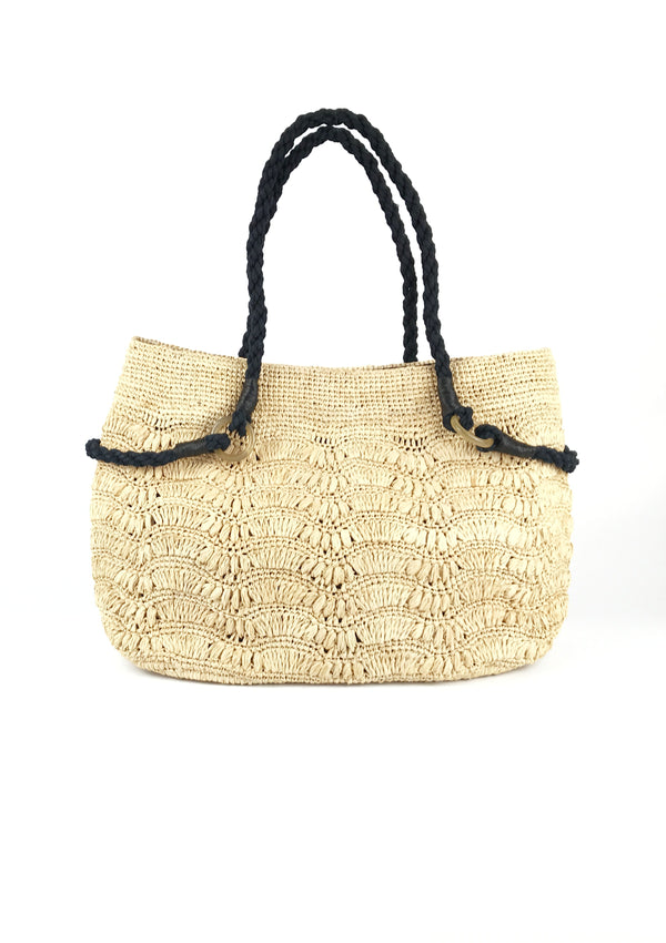 Blueberry raffia shoulder bag in natural beige