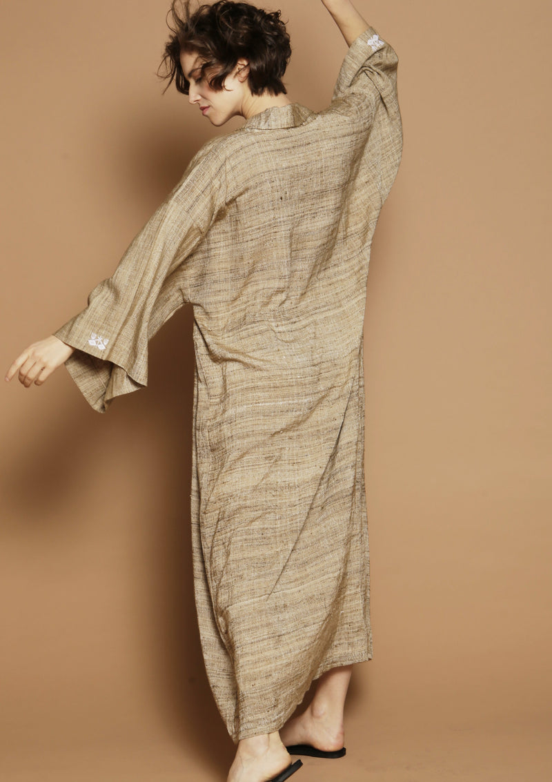 high end raw silk kimono loungewear