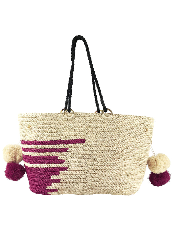 designer raffia basket back for sale with pompom tassels