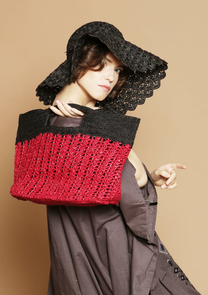 INES ODETTE raffia tote bag- Red and black