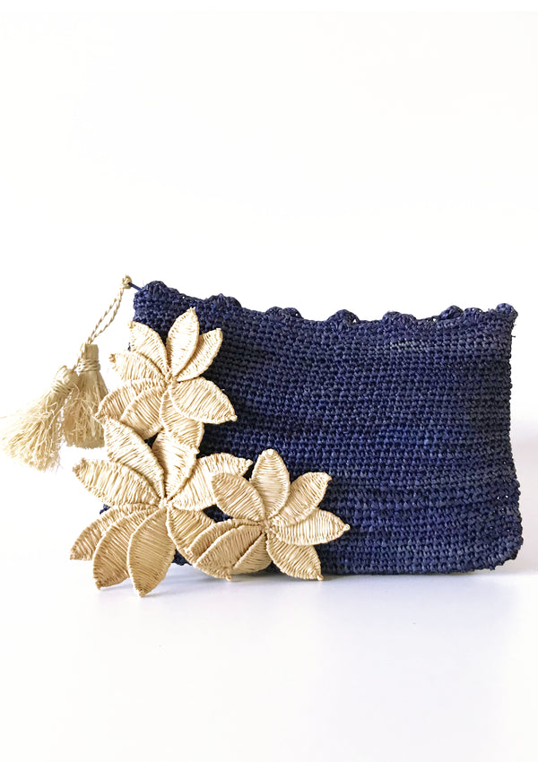 designer raffia clutch bag for occasionwear with lace flowers