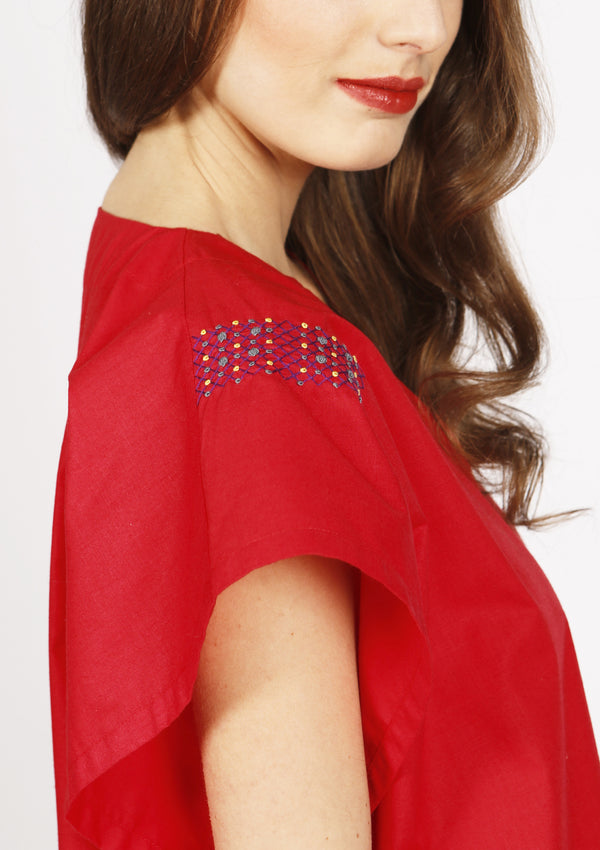 Cheap designer red kaftan cover-up dress beachwear with embroidery