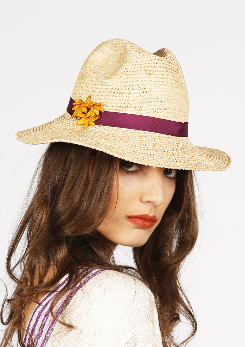 Affordable quality panama hat with ribbon and handmade lace made with raffia