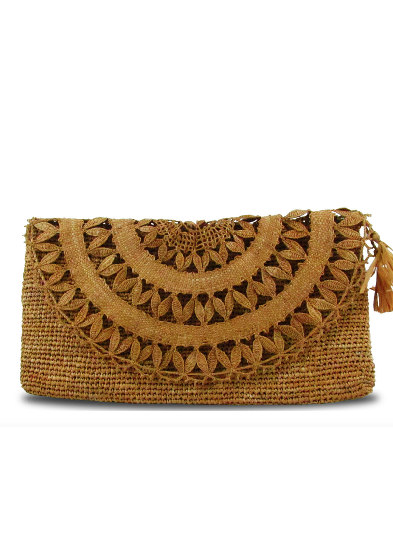 Raffia brown designer wedding bag clutch with lace and zip pocket