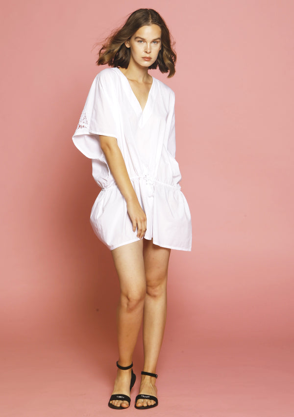 White quality cotton beach cover-up dress for beachwear holidays