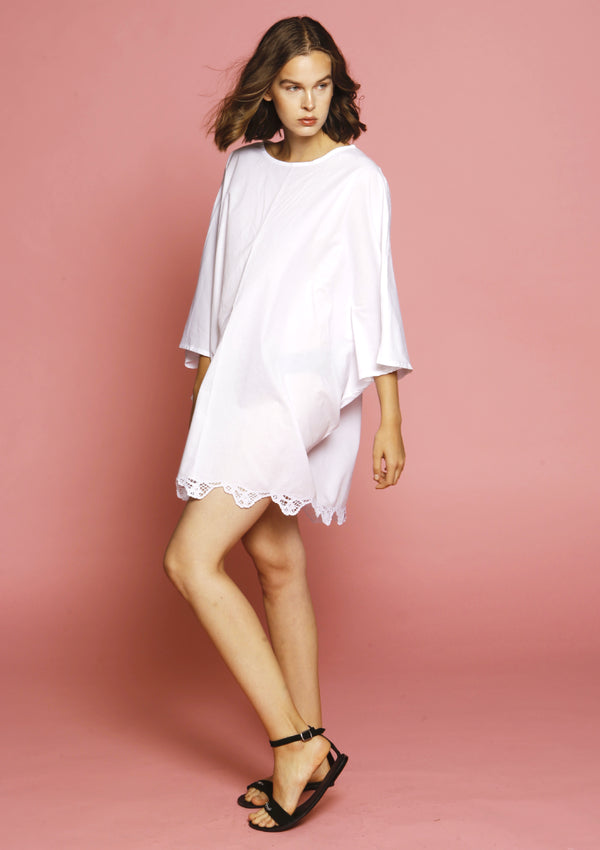 quality white beach cover-up dress with embroidery beachwear