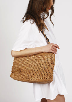 Luxury Raffia handmade Beach bag with twisted handles brown