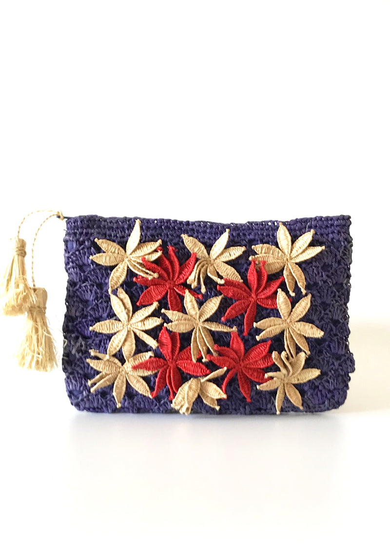 Women designer evening raffia clutch with handmade lace blue