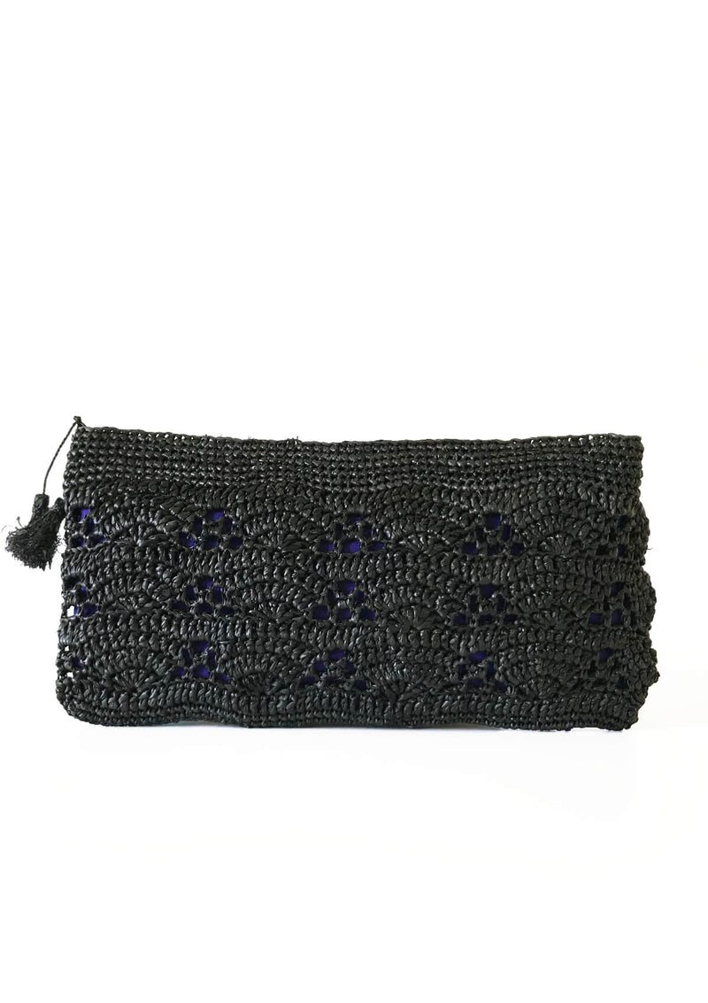 high end raffia clutch for evening