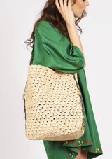 Affordable luxury designer beach tote bag handmade raffia resortwear