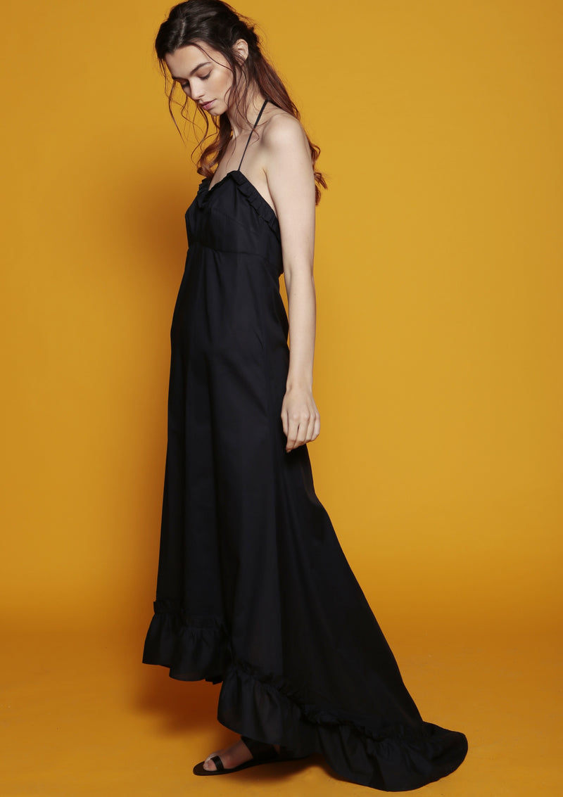 ruffle sweetheart neckline evening maxi dress