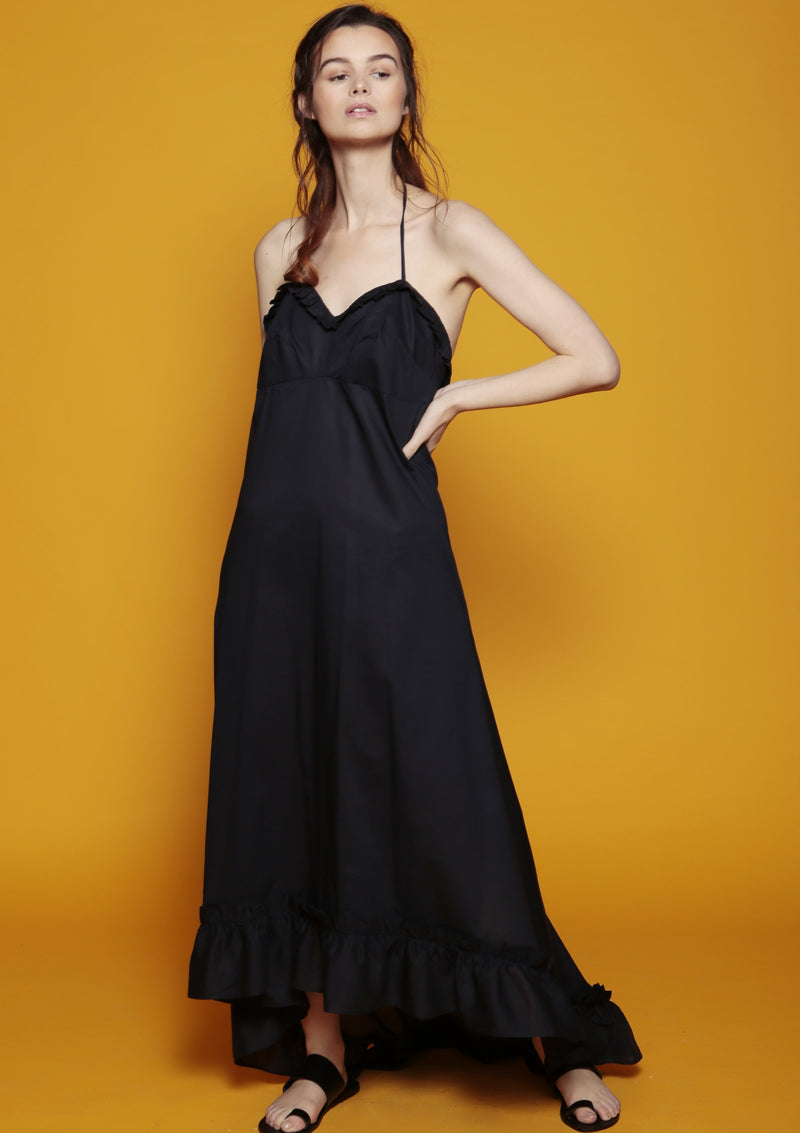 cotton maxi dress summer holiday ruffle edge