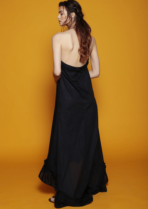 open back dark blue cocktail dress ruffle edge