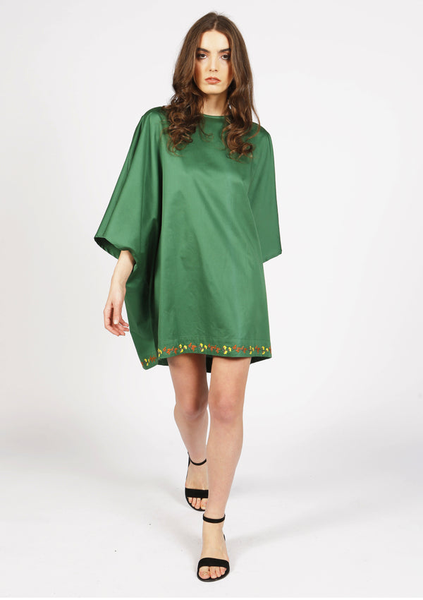 Green quality cotton beach dress with embroidered flowers for luxury beachwear