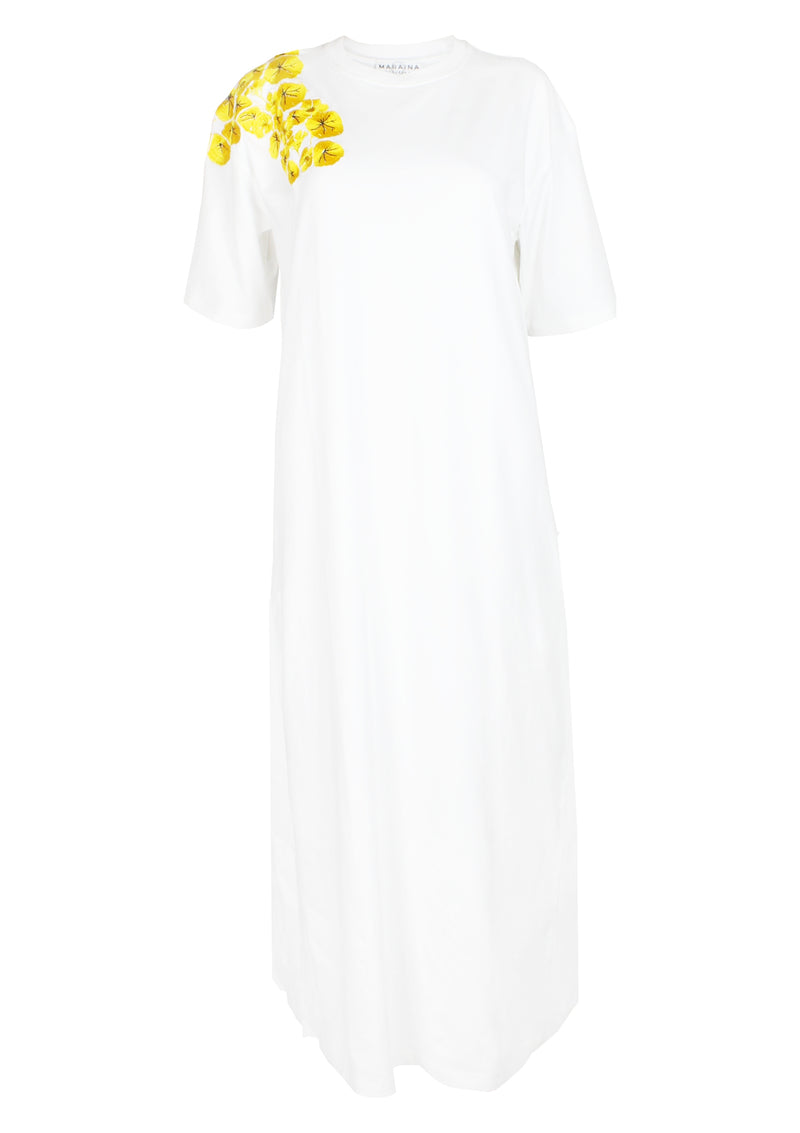 women cotton t-shirt dress white embroidered