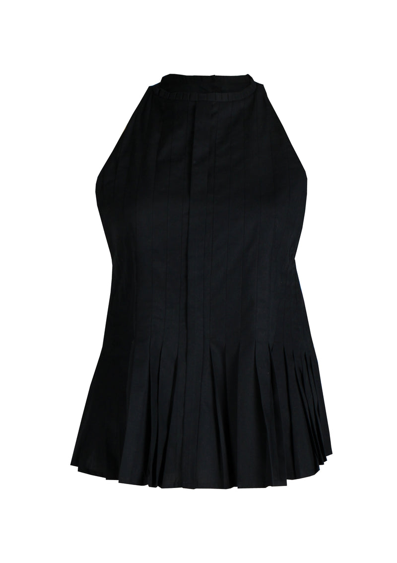 women pleated cotton top in black affordable sustainable fashion