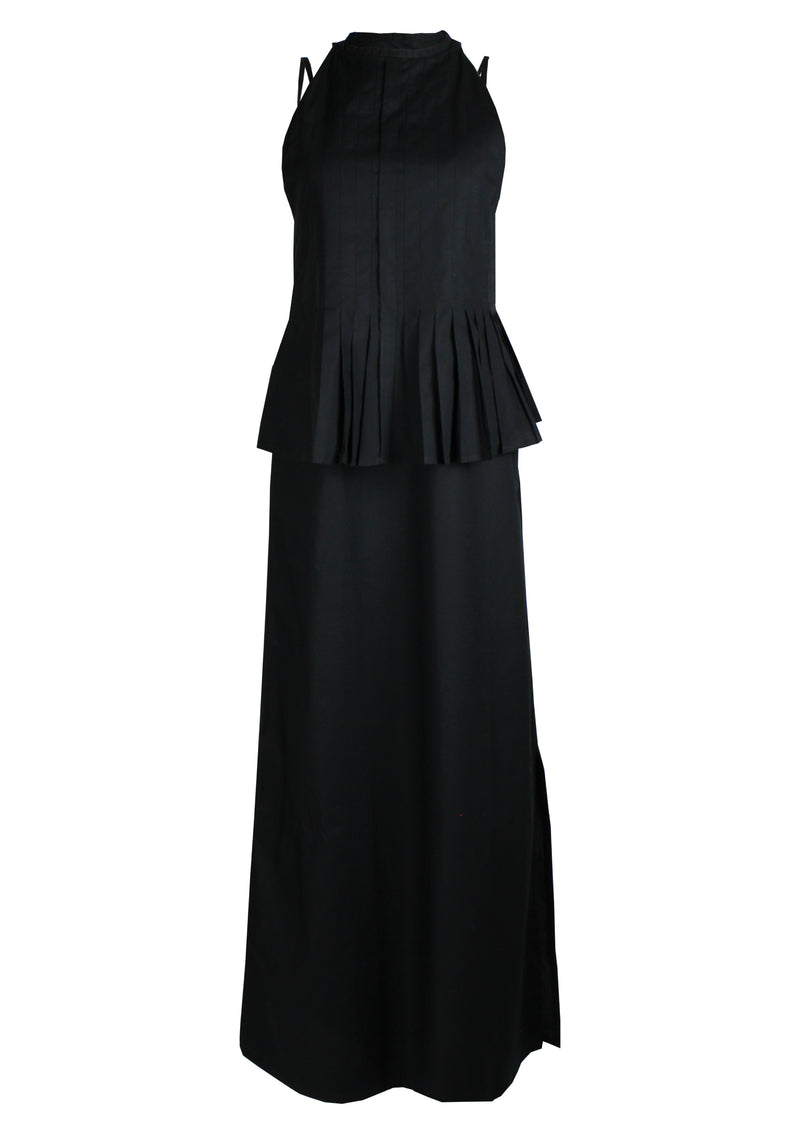 womenswear cheap designer evening dress pleated cotton in black