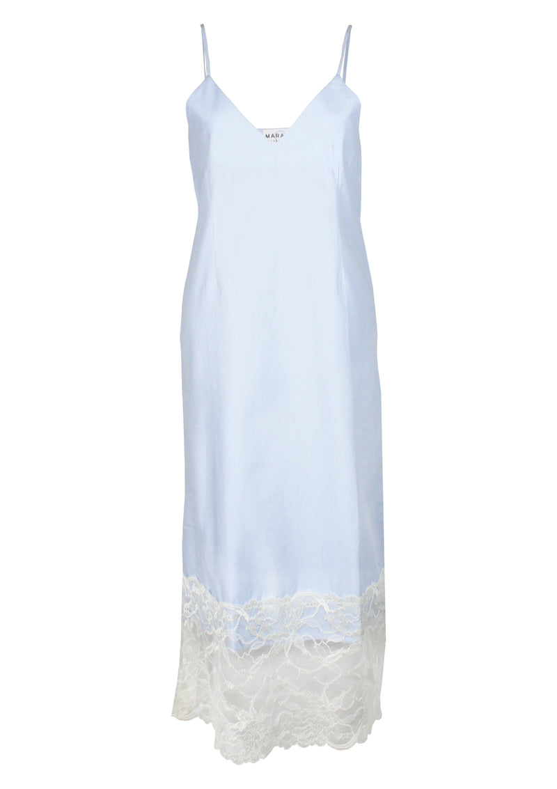 Maraina-London WOMEN cotton slip dress in blue with large lace