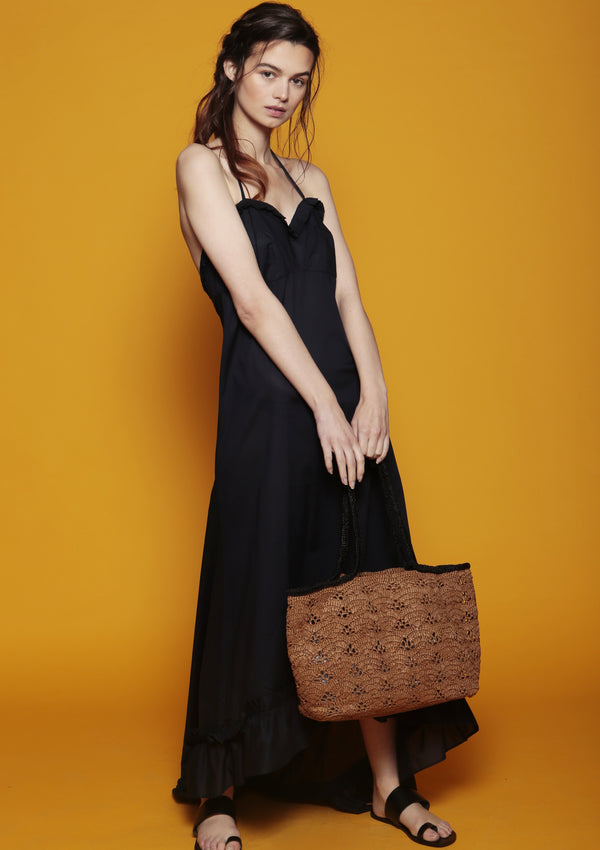 raffia beach bag in brown