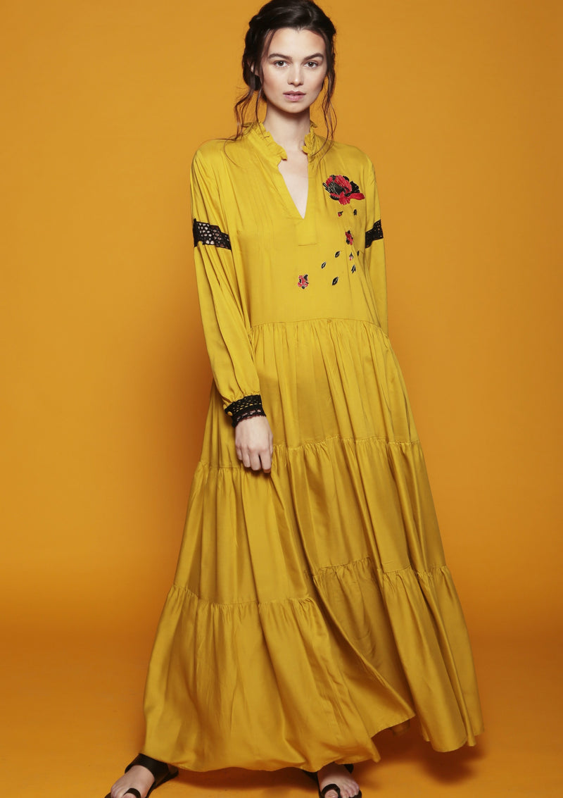 mustard ruffle dress beachwear luxury