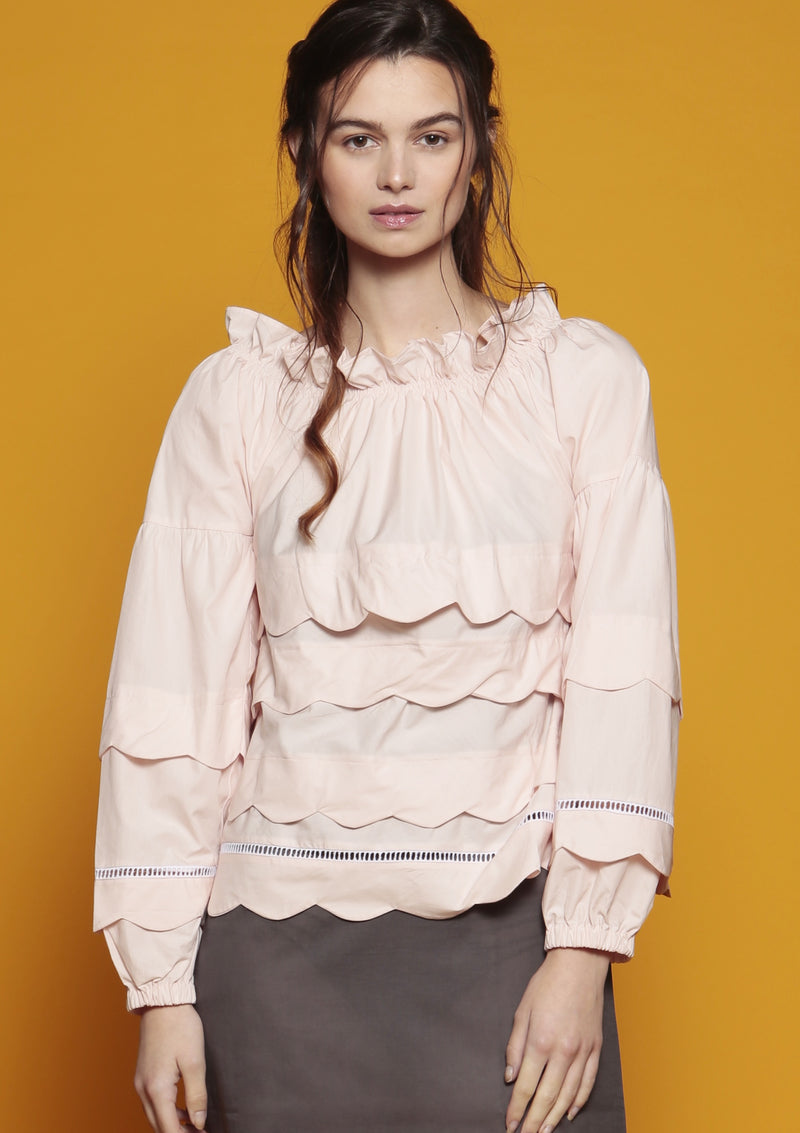 Maraina-London womenswear ruffle blouse with scallop edge