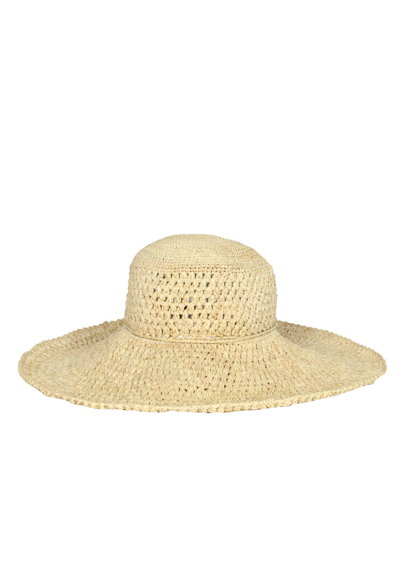 hand crocheted raffia sun hat