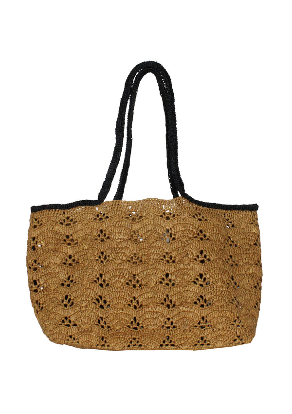 brown designer raffia bag medium size